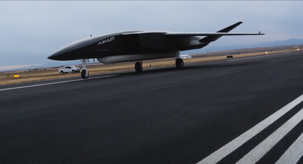 A screenshot from the December 3 video presentation of RavnX drone made by Aevum company standing in a hangar.
