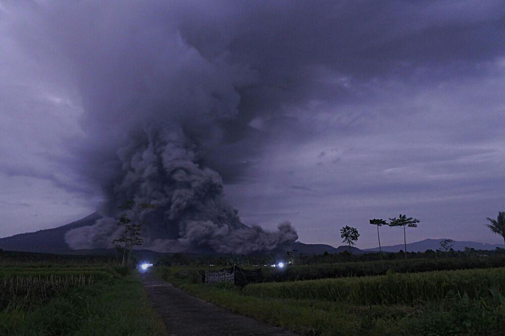 An eruption of Mount Semeru is seen in Lumajang, East Java Province, Indonesia, 1 December 2020.