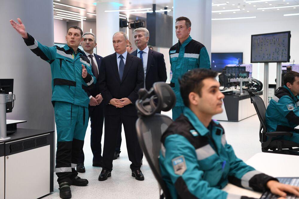 Russian President Vladimir Putin visits the largest petrochemical complex in Tobolsk, ZapSibNefteKhim, an enterprise of the Sibur holding.