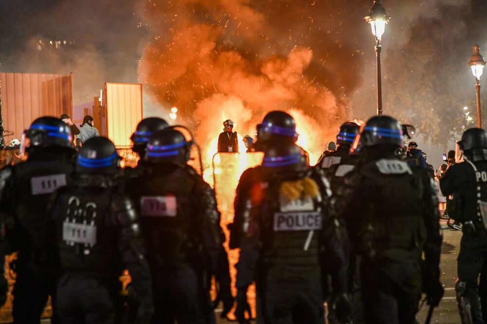 Police officers during a rally organised over the actions of law enforcement agencies against migrants and protesting the amendment to the Law on National Security, which provides, in particular, the expansion of police powers, in Paris.