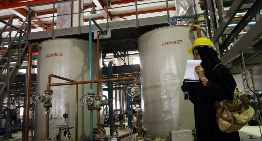 An Iranian journalist reports tours the water purifying facility at the Bushehr nuclear power plant in the Iranian port town of Bushehr, 1200 Kms south of Tehran, on February 25, 2009