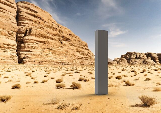 An art work be artist group The Most Famous Artist, titled 'Early Concept Art — August 2020', showing a render of the monolith in the desert