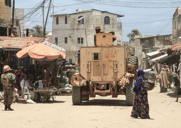 Ugandan soldiers of African Union's peacekeeping mission in Somalia (AMISOM) patrol in Merka, Southern Coastal Somalia, on September 19, 2019.