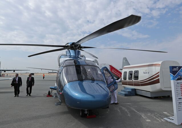 This picture shows a Turkish TAI T625 helicopter developed by Turkish Aerospace Industries during the 2018 Bahrain International Airshow (BIAS) at the Sakhir Airbase, south of the Bahraini capital Manama on November 14 2018.