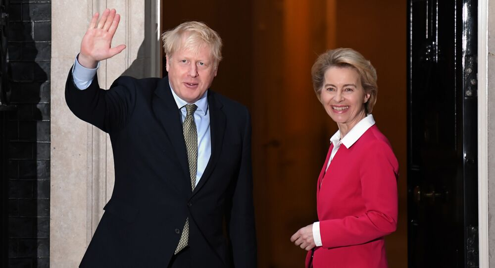 Britain's Prime Minister Boris Johnson greets European Commission President Ursula von der Leyen outside 10 Downing Street in central London on January 8, 2020, ahead of their meeting.