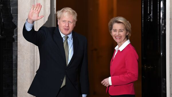 Britain's Prime Minister Boris Johnson greets European Commission President Ursula von der Leyen outside 10 Downing Street in central London on 8 January 2020, ahead of their meeting. - Sputnik International