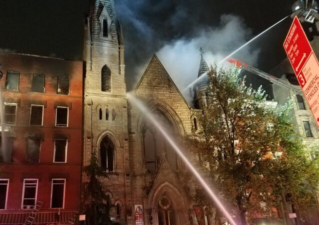 A FDNY's photo of NYC Middle Collegiate Church in Manhattan damaged by the fire in a nearby bulding, December 5, 2020.