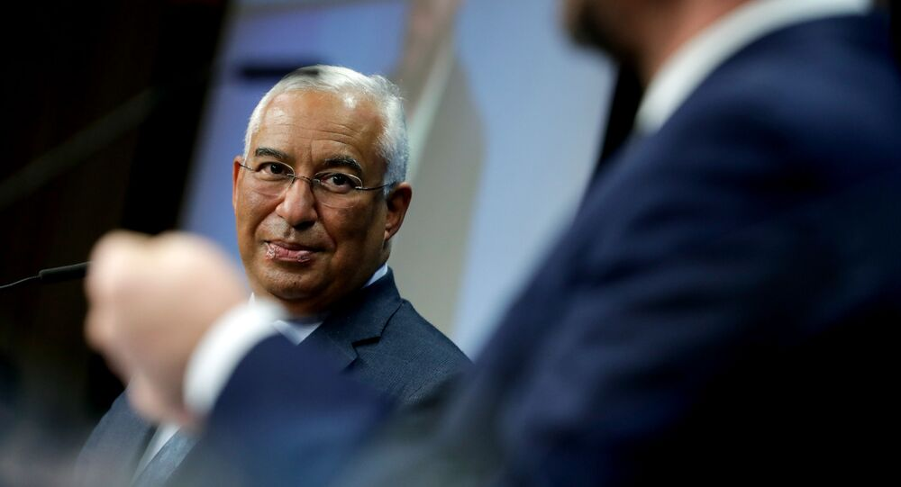 Portuguese Prime Minister Antonio Costa gives a joint press conference with European Council President at the end of a meeting, at the European Commission in Brussels, on December 1, 2020