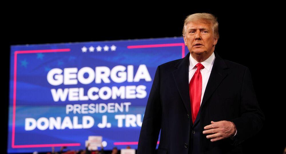 U.S. President Donald Trump attends a campaign rally for Republican U.S. senators David Perdue and Kelly Loeffler, ahead of their January runoff elections to determine control of the U.S. Senate, in Valdosta, Georgia, U.S., December 5, 2020.
