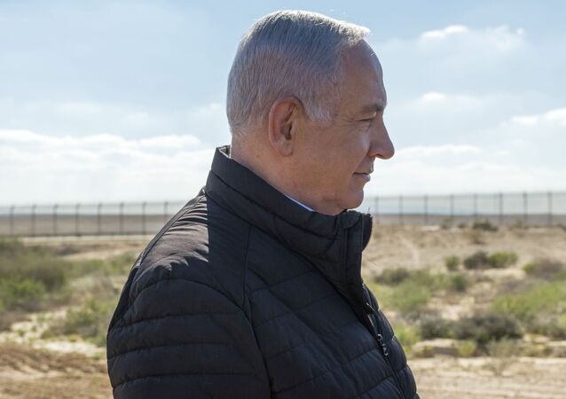 Israel's Prime Minister Benjamin Netanyahu visits the southern border with Egypt at Nitzana, Israel, in the Negev Desert, Thursday, March 7, 2019.