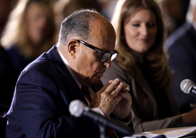 Former Mayor of New York Rudy Giuliani, a lawyer for President Donald Trump, speaks at a hearing of the Pennsylvania State Senate Majority Policy Committee, Wednesday, Nov. 25, 2020, in Gettysburg, Pa