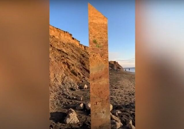 Monolith found on beach at Compton in Isle Of Wight
