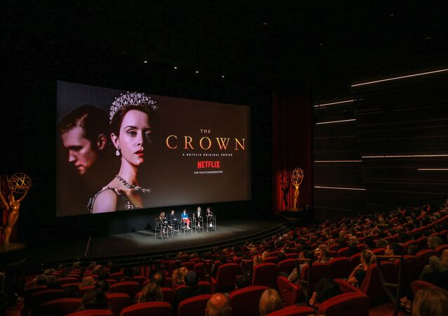 NORTH HOLLYWOOD, CA - APRIL 27: (L-R) Krista Smith, Peter Morgan, Claire Foy, Vanessa Kirby and Jane Petrie speak onstage during the For Your Consideration event for Netflix's The Crown at Saban Media Center on April 27, 2018 in North Hollywood, California.