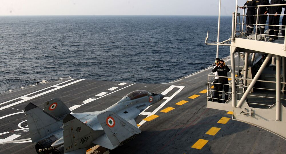In this photograph released by the Indian Ministry of Defence on January 9, 2018, shows a MiG 29K during the operational manoeuvres of the Western Fleet ships, witnessed by Minister of Defence Nirmala Sitharaman, conducted by the Indian Navy.