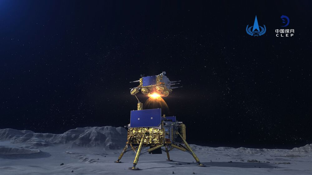 In this China National Space Administration (CNSA) photo released by Xinhua News Agency, a simulated image of the ascender of Chang'e-5 spacecraft blasting off from the lunar surface at the Beijing Aerospace Control Center (BACC) in Beijing on 3 December 2020. The Chinese lunar probe lifted off from the moon Thursday night with a cargo of lunar samples on the first stage of its return to Earth, state media reported.