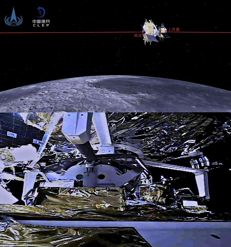 This combination of two pictures created and released on 6 December 2020 by the China National Space Administration (CNSA) via CNS shows an illustration (top) and a photo (bottom) of the ascender of China's Chang'e-5 lunar probe completing rendezvous and docking with the orbiter-returner combination.