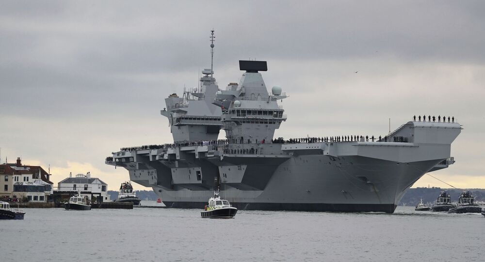 The new British aircraft carrier HMS Prince of Wales arrives at Portsmouth Naval Base after its first sea trials, in Portsmouth, southern England, 16 November 2019