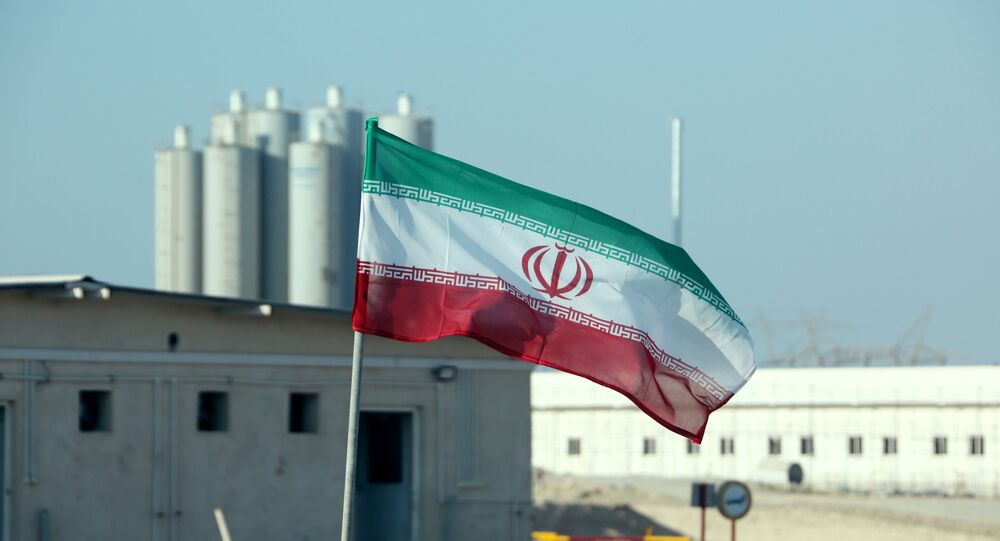 A picture taken on November 10, 2019, shows an Iranian flag in Iran's Bushehr nuclear power plant, during an official ceremony to kick-start works on a second reactor at the facility.