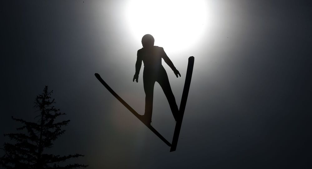 Finland's Leevi Mutru soars through the air during training for the Nordic Combined HS130, at the Nordic ski World Championships in Innsbruck, Austria, Wednesday, Feb. 20, 2019