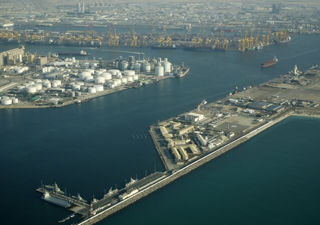 A ship leaves Jebel Ali harbour, which is at the heart of a free trade zone set up in Dubai in the 1980s