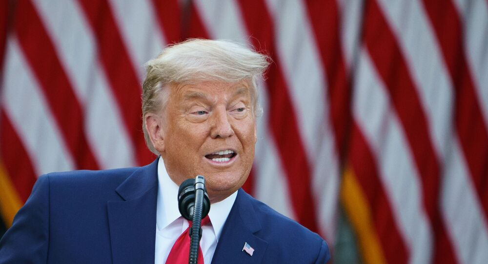 US President Donald Trump delivers an update on Operation Warp Speed in the Rose Garden of the White House in Washington, DC on November 13, 2020.