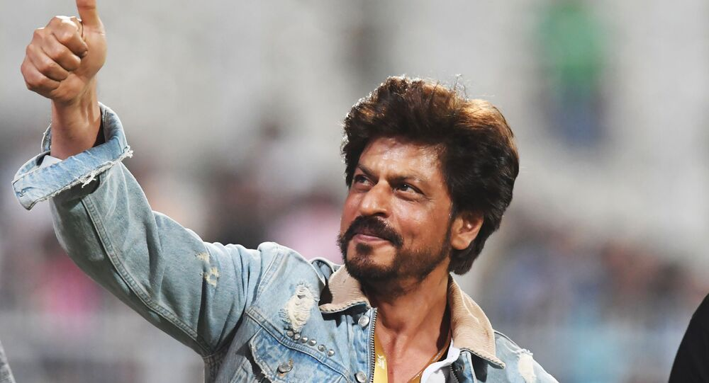 Bollywood actor and co-owner of Kolkata Knight Riders Shah Rukh Khan greets spectators after the Indian Premier League (IPL) Twenty20 cricket match between Kolkata Knight Riders and Sunrisers Hyderabad at the Eden Gardens Stadium in Kolkata on March 24, 2019.