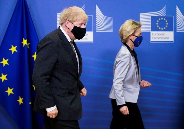 European Commission President Ursula von der Leyen welcomes British Prime Minister Boris Johnson in Brussels, Belgium December 9, 2020.