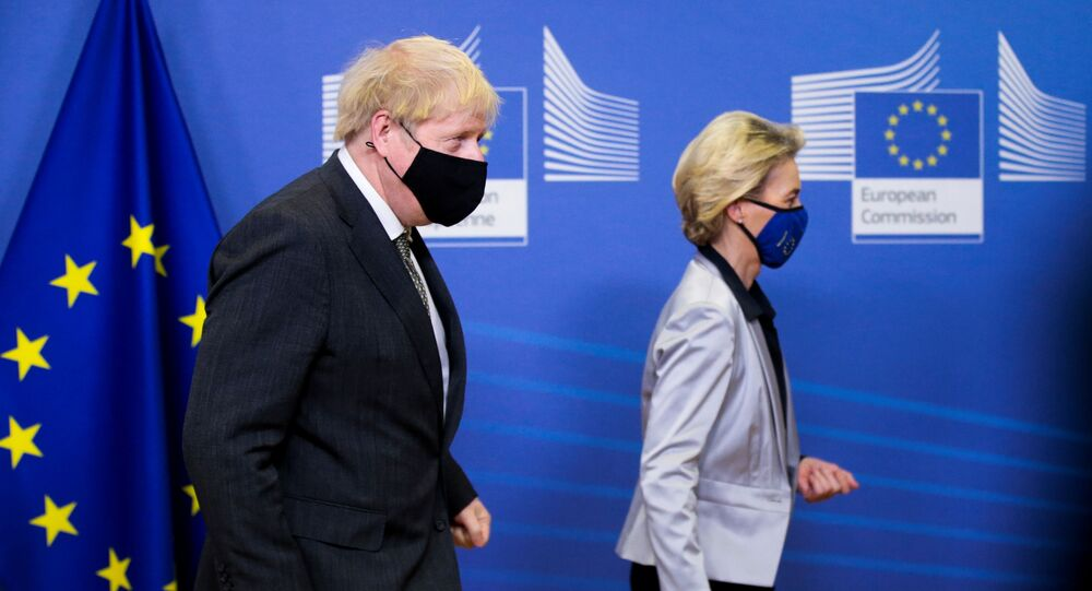 European Commission President Ursula von der Leyen welcomes British Prime Minister Boris Johnson in Brussels, Belgium December 9, 2020.