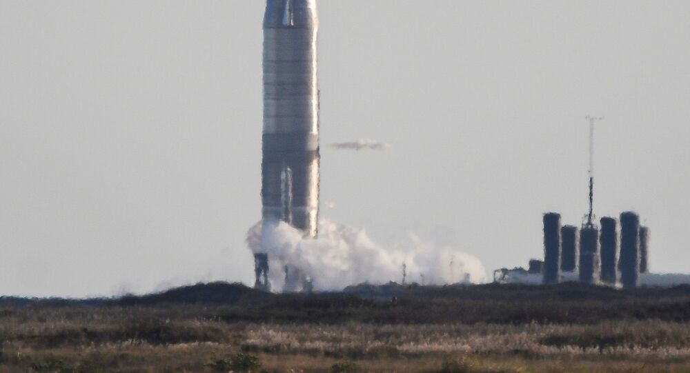 SpaceX's Starship SN8 is pictured as launching was aborted 1.3 seconds before ignition from their facility in Boca Chica, Texas, U.S. December 8, 2020.