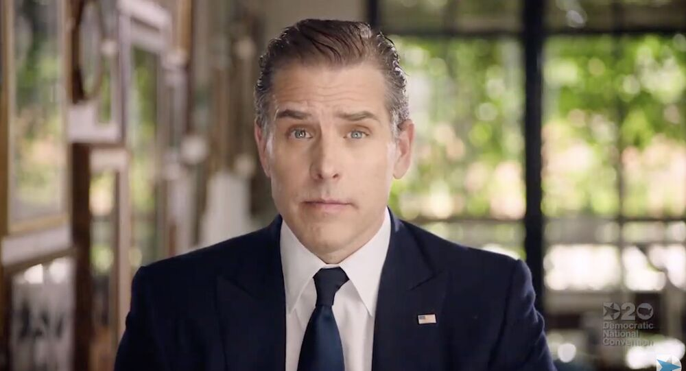 This video grab made on August 20, 2020 from the online broadcast of the Democratic National Convention, being held virtually amid the novel coronavirus pandemic, shows former vice-president and Democratic presidential nominee Joe Biden's son Hunter Biden speaking during the last day of the convention.