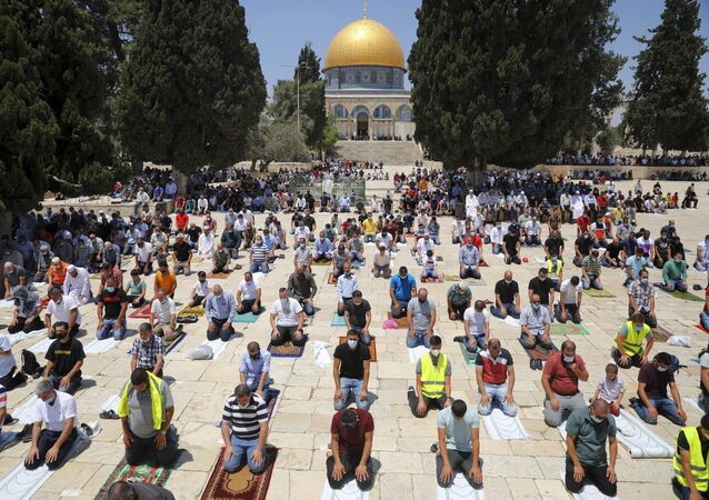 Worshipers Gather for Eid al-Fitr Prayers Outside Al-Aqsa Mosque in Jerusalem Amid Tensions