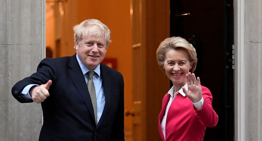 Britain's Prime Minister Boris Johnson meets European Commission President Ursula von der Leyen in London, Britain January 8, 2020. REUTERS/Toby Melville