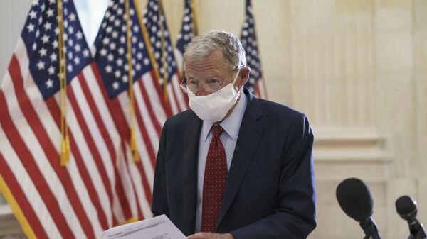 Sen. Jim Inhofe, R-Okla., arrives as Senate Republicans hold leadership elections, on Capitol Hill in Washington, Tuesday, Nov. 10, 2020 - Sputnik International