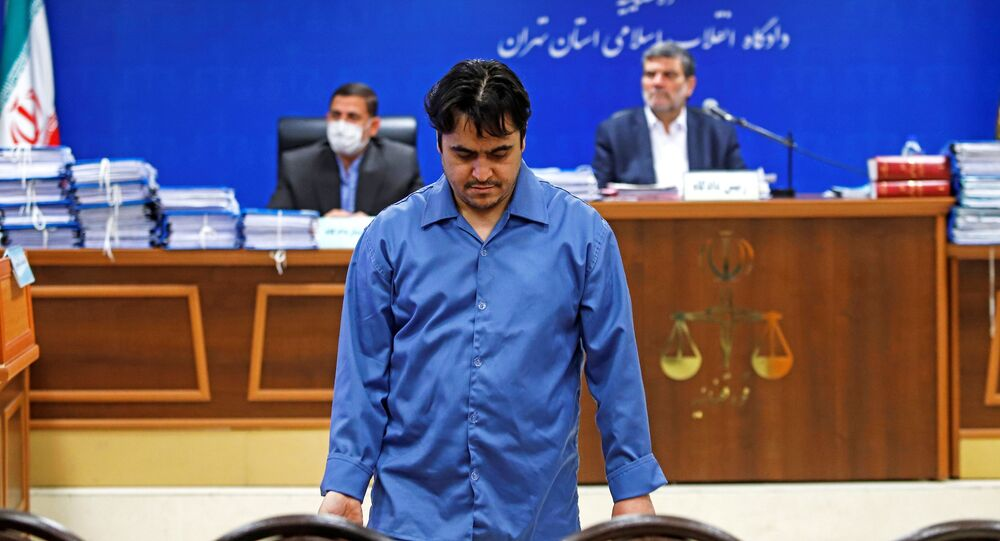 Ruhollah Zam, a dissident journalist who was captured in what Tehran calls an intelligence operation, is seen during his trial in Tehran, Iran June 2, 2020. Picture taken June 2, 2020.