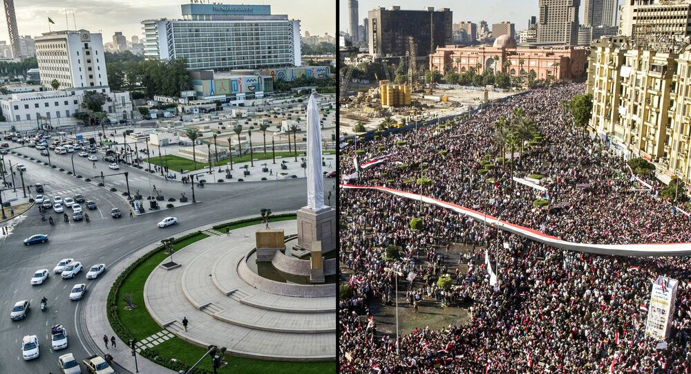 (COMBO) This combination of pictures created on November 23, 2020 shows a general view of Cairo's Tahrir Square (R to L) on February 18, 2011 as it is filled with protesters celebrating the ouster of former president Hosni Mubarak a week after the massive protests against him, which had erupted after a revolt toppled Tunisia's ruler in what becomes known as the Arab Spring; and the same view almost ten years later on November 11, 2020