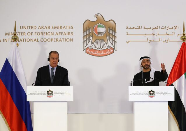 Foreign Affairs Ministers of the United Arab Emirates Abdullah bin Zayed Al-Nahyan (R) and his Russian counterpart Sergey Lavrov attend a joint press conference in Abu Dhabi on March 6, 2019.