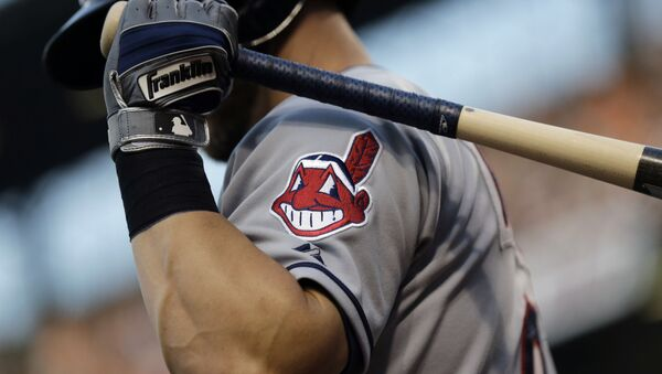 FILE - This June 26, 2015, file photo, shows the Cleveland Indians logo on a jersey during a baseball game against the Baltimore Orioles in Baltimore - Sputnik International