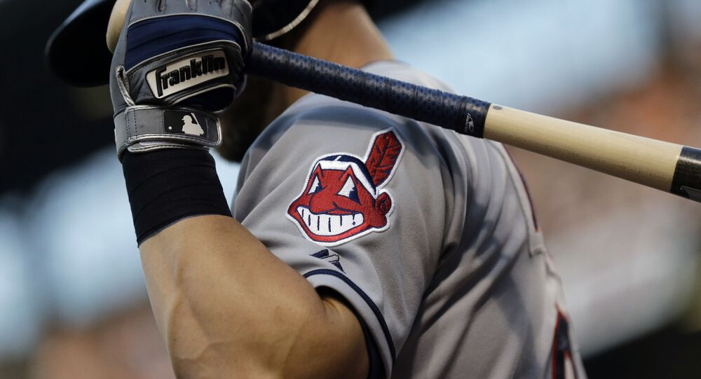 FILE - This 26 June 2015 file photo shows the Cleveland Indians logo on a jersey during a baseball game against the Baltimore Orioles in Baltimore, Maryland.