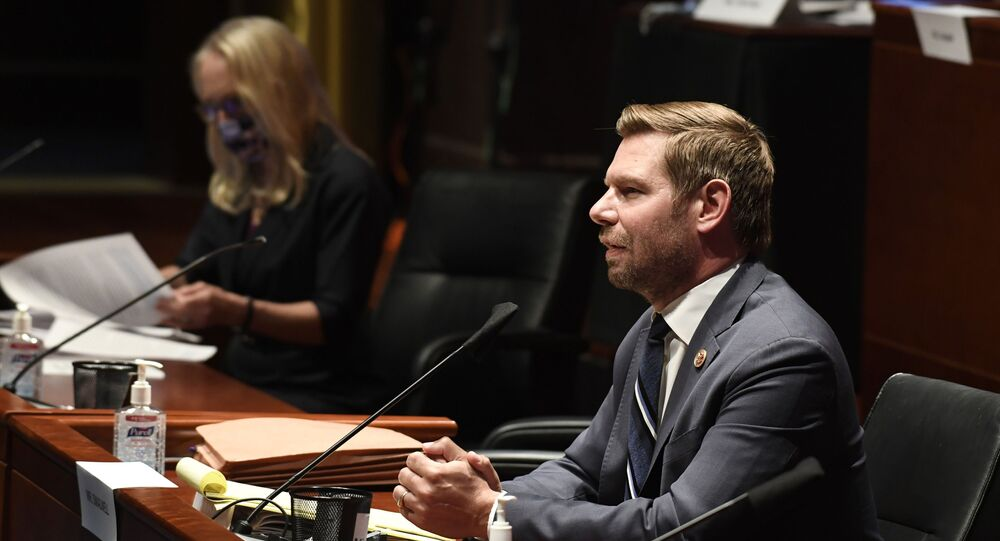 Rep. Eric Swalwell, D-Calif., right, speaks during a House Judiciary Committee hearing on Capitol Hill in Washington, Wednesday, June 24, 2020, on oversight of the Justice Department and a probe into the politicization of the department under Attorney General William Barr.