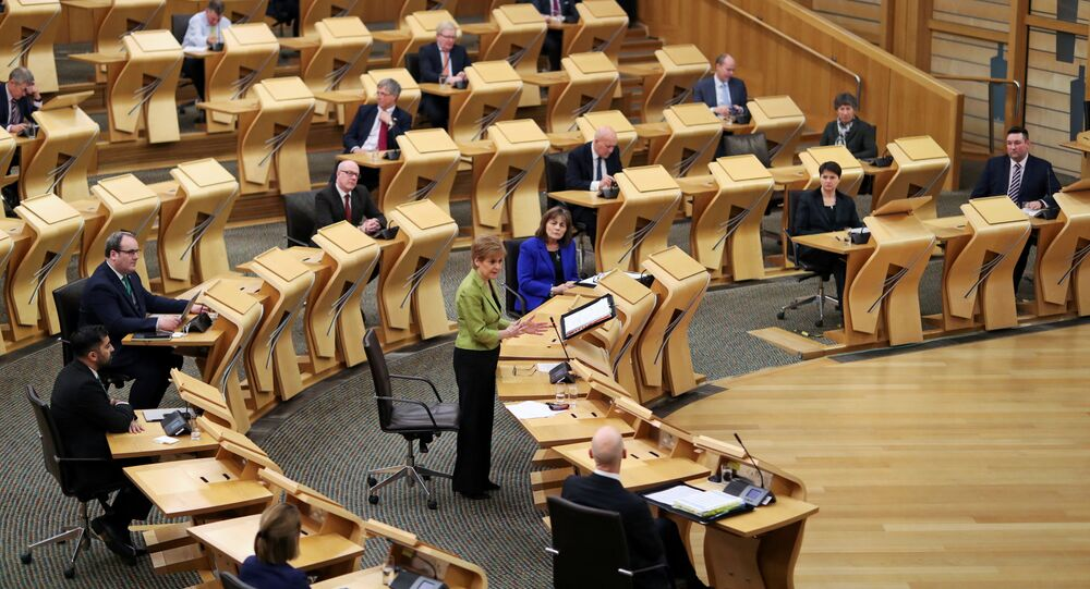 Scottish First Minister Nicola Sturgeon attends the First Minister's Questions at the parliament in Edinburgh, Scotland, Britain December 10, 2020.