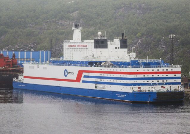 The world's first floating nuclear power plant (NPP) Akademik Lomonosov is pictured at the port of Murmansk, Russia.