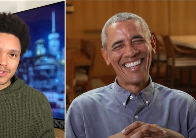 Barack Obama speaks on The Daily Show with Trevor Noah.
