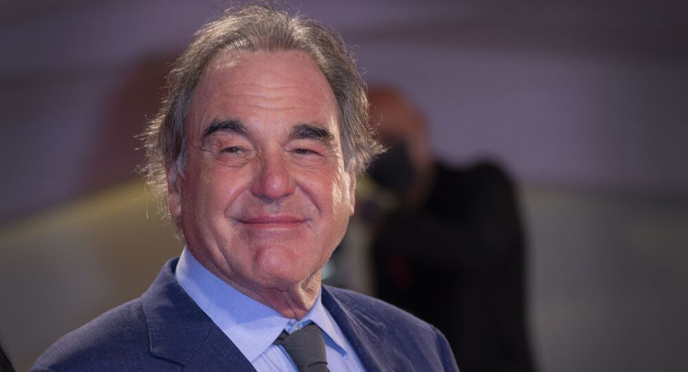 Oliver Stone poses for photographers upon arrival at the premiere of the film 'Miss Marx' during the 77th edition of the Venice Film Festival in Venice, Italy, Saturday, Sept. 5, 2020.