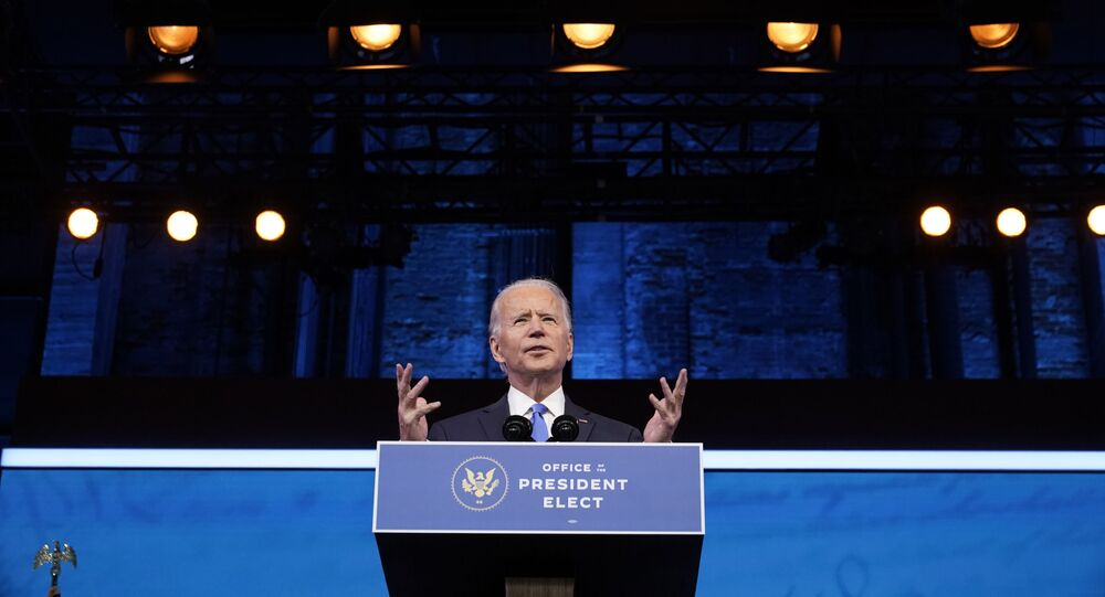 President-elect Joe Biden speaks after the Electoral College formally elected him as president, Monday, 14 December 2020, at The Queen theater in Wilmington, Delaware.