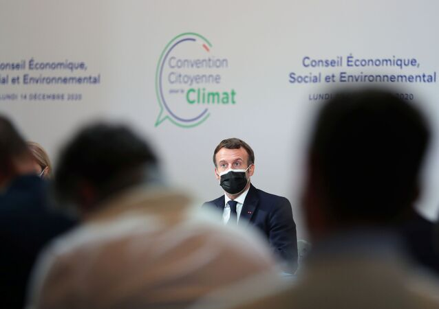 France's President Emmanuel Macron delivers a speech during a Citizens' Convention on Climate, in Paris, France 14 December 2020.