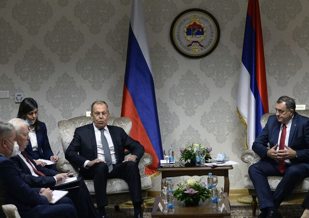 Russian Foreign Minister, Sergei Lavrov (centre left) sits down for a meeting with the chairman of Bosnia and Herzegovina's tripartite presidency, Milorad Dodik (for the Serbs, centre right), in East-Sarajevo, late on 14 December 14, 2020.