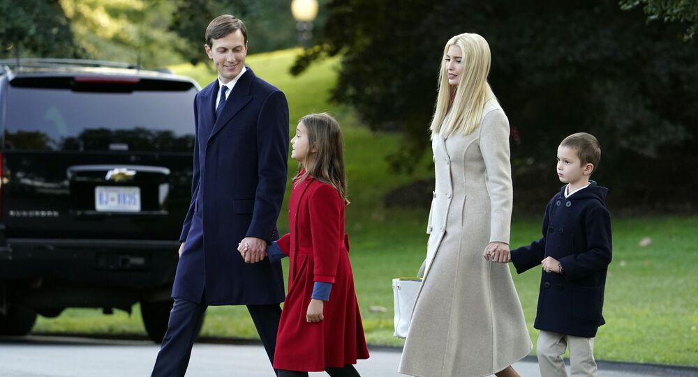 White House adviser Jared Kushner, from left, and daughter Arabella Kushner, walk with his wife Ivanka Trump and their son Joseph as they prepare to board Marine One with President Donald Trump on the South Lawn of the White House, 22 September 2020
