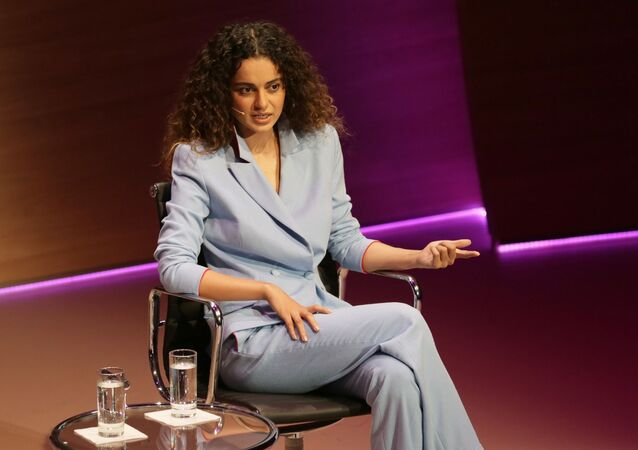 Bollywood actress Kangana Ranaut speaks during the Women in the World Summit at Cadogan Hall in London, Friday 9 October 2015.