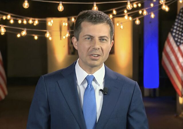 In this image from video, former South Bend Mayor Pete Buttigieg speaks during the fourth night of the Democratic National Convention on Thursday, Aug. 20, 2020.