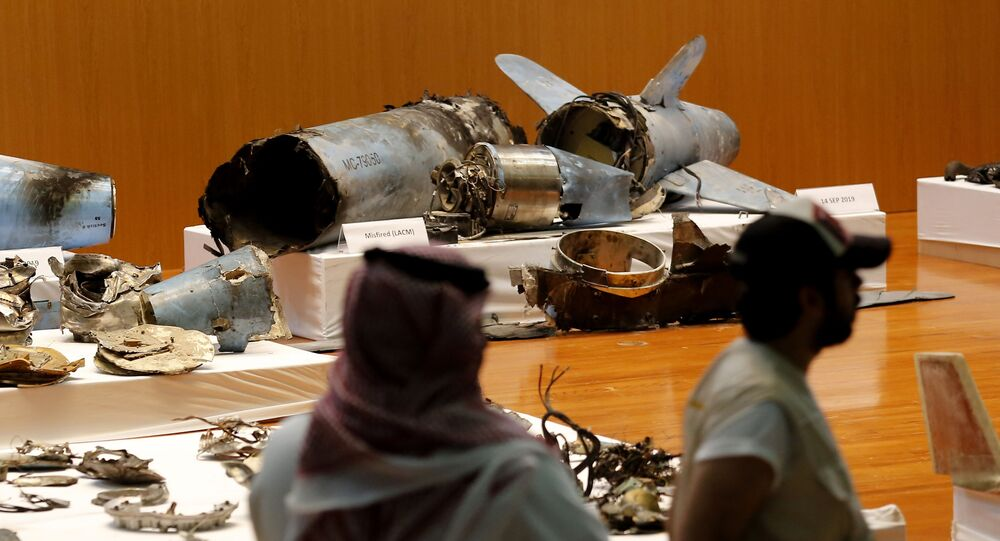In this Sept. 18, 2019 file photo, the Saudi military displays what they say are an Iranian cruise missile and drones used in recent attacks on its oil industry at Saudi Aramco's facilities in Abqaiq and Khurais, during a press conference in Riyadh, Saudi Arabia.